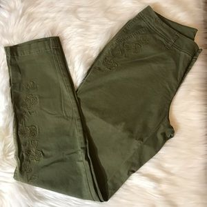 A New Day Dark Green Cotton Pants Tapered Leg
